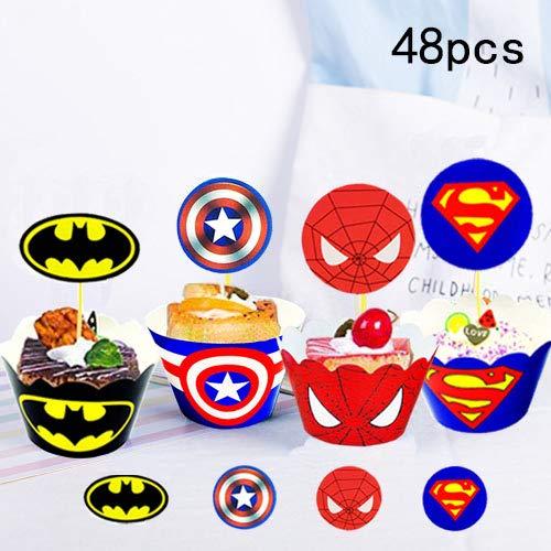 51qFdvUrCLL - Envoltorio para tartas de superhéroe (48 unidades), decoración para tartas de superhéroe, suministros para fiesta de superhéroes, decoración para pasteles de Superman