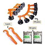 100 distanziatori per piastrelle, livellatore per piastrelle, sistema di livellamento per piastrelle, sistema (100 pezzi), arancione