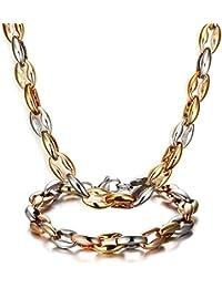 Vnox 10mm de acero inoxidable Chunky 18K Rose chapado en oro conjunto de joyas para los hombres, cadena de pulsera collar conjuntos