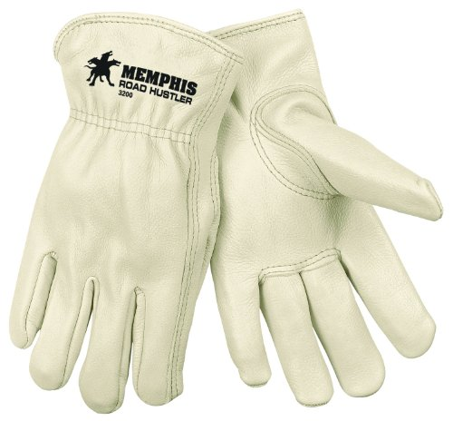 MCR SAFETY 3200L GRAIN COW FULL LEATHER DRIVER PREMIUM GRADE GLOVES WITH KEYSTONE THUMB AND SELF DE HEMMED  CREAM  LARGE  DE 1PAIR BY MCR SAFETY