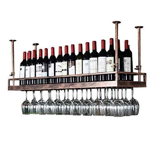 DJSMjbj Bronze Weinregal - Morden Stil Eisen Hängen Weinglas Rack Decke Dekoration Regal Für Bar, Restaurants, Küche Oder Weinkeller (Size : 80cm)