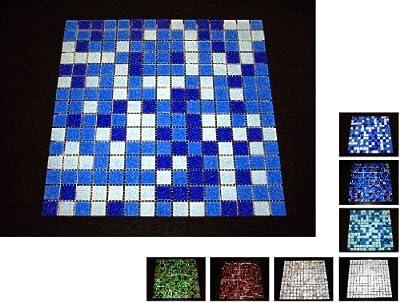 1 Netz Glasmosaik 4 mm dunkel Blau von Mosaikdiscount24 bei TapetenShop