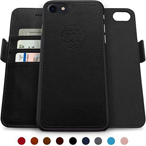 Dreem Fibonacci Brieftasche & Schutz-Hülle für iPhone 7/8, magnetisch herausnehmbares TPU Case, dünn bruchfest, 2 Standfunktionen, hochwertige synthetische Leder-Tasche, RFID Schutz - Schwarz Vertical Slim Case