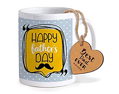 Tied Ribbons Anniversary Gift for Dad Printed Coffee Mug(325ml,Ceramic) with Wooden Tag