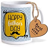 TIED RIBBONS Fathers Day Gifts | Gift For Fathers Day | Fathers Day Gifts From Son | Printed Coffee Mug With Wooden Tag