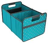 Meori Classic Large Azur Blau/Punkte 32x50x27,5cm abwischbar, stabil, Polyester Picknick Party Grillen Garten Camping Ausflug Reise Aufräumen Regal Faltbox