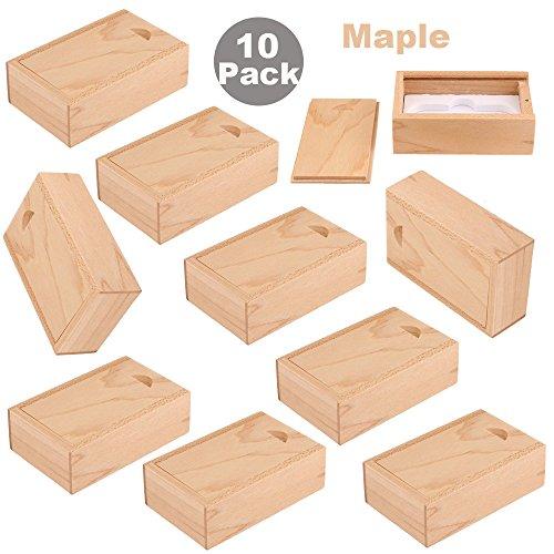 A Plus+ Verkauf in der Masse 10 Stück Holzbox für USB-Sticks Geschenkbox für Schmucksachen Geschenke Notwendig (10er Pack)