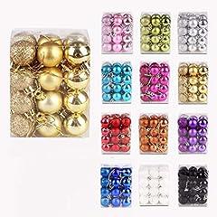 Idea Regalo - IsEasy Confezione 24 Palline di Natale 3 Cm, Palline Natalizie Glitter Opache Lucide [x8 x8 x8], Set Palline Natale Oro Chiaro