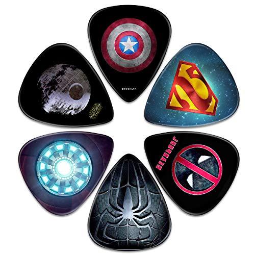 Surmoler Gitarrenplektren, 6 Stück, universal, Kunststoff, Captain America Superman Deadpool Spiderman Iron Man Star Wars Gitarrenplektren für Akustik- und E-Gitarre (Spiderman-akustik-gitarre)