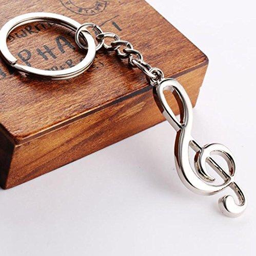 CMOO6Y 1PC Music Symbol metal Keychain anello portachiavi divertente & amp; regalo creativo argento per decorazioni