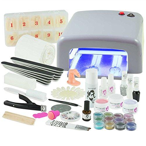 UV Gel Nagelstudio Starter Set Silber-Nagelset mit Nailart, UV Lampe und UV Gel ideales Starterset