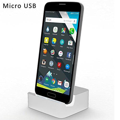 Original COVERLOUNGE - Micro USB Dockingstation / Dock / Ladestation [2.1 A] für alle SAMSUNG, SONY, HTC, NOKIA, GOOGLE, HUAWEI, XIAOMI, LG, ARCHOS Smartphones mit Micro USB Anschluss | Farbe: weiß