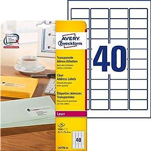 AVERY Zweckform L4770-25 Adressetiketten/Adressaufkleber (1.000 Etiketten, 45,7x25,4mm auf A4, bedruckbar, selbstklebend, für Absenderetiketten, durchsichtige Polyesterfolie) 25 Blatt, transparent