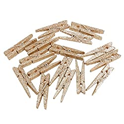 Imported 20Pcs Mini Craft Clothes Pegs Wooden Sequins Clothespin Clips Art Champagne
