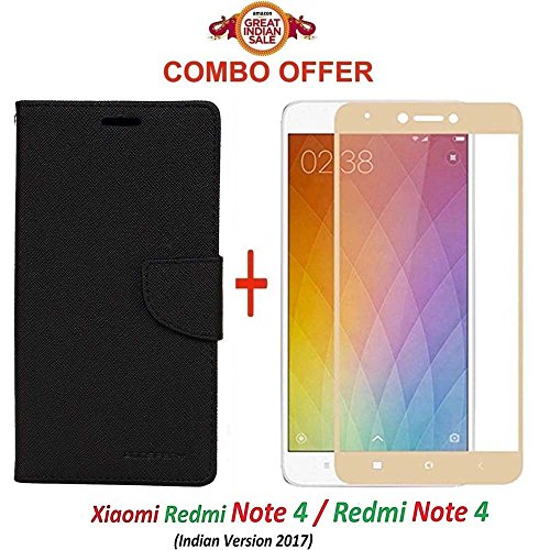 Goelectro Xiaomi Redmi Note 4 / mi redmi note 4 / Redmi Note 4 (COMBO OFFER) Flip Cover Case Wallet Style for Redmi Note 4 ( Black ) + 2.5D curved 3D Edge to Edge Tempered Glass Screen Protector ( Gold )