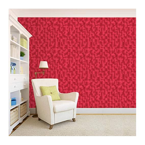 100Yellow? Red Texture Pattern Self Adhesive Peel & Stick Waterproof Wallpaper(Pvc Vinyl; 26.7 Sq Ft; Multicolour)