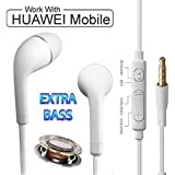 Honor 8 Pro Compatible Original Nabster Dolby Sound Bomb Series Audio Bass in-Ear Earphone/Headphone with Mic- White