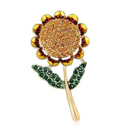 TtKj Brosche Legierung Diamant hochwertige Sonnenblumen Kleid Sonne Blume Brosche Mode Retro Pflanze pin 2-teiliges Set (Blumen-sonne-kleid)