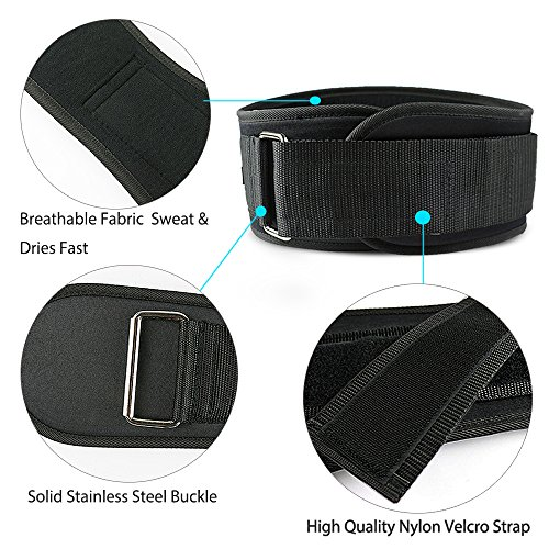 JGOO-Nylon-EVA-Weight-Lifting-Belt-5-Inch-Padded-Velcro-Back-Core-Support-Belt-for-Men-and-Women-Weightlifting-Belt-for-Squats-Deadlift-Powerlifting-Gym-Crossfit-Bodybuilding-Black