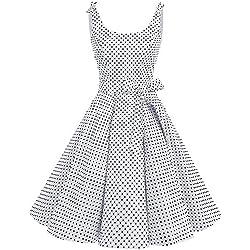 bbonlinedress 1950er Vintage Polka Dots Pinup Retro Rockabilly Kleid Cocktailkleider White Black Dot L