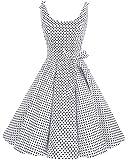 Bbonlinedress Vintage rétro 1950's Audrey Hepburn robe de soirée cocktail année 50 Rockabilly,Pois Blanc M