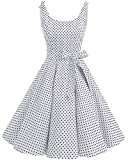 bbonlinedress 1950er Vintage Polka Dots Pinup Retro Rockabilly Kleid Cocktailkleider White Black Dot M