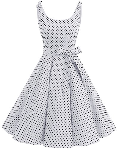 bbonlinedress 1950er Vintage Polka Dots Pinup Retro Rockabilly Kleid Cocktailkleider White Black Dot L Eine Art Kleid