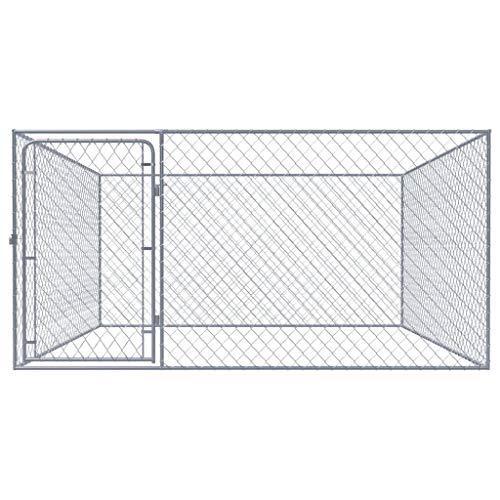 tidyard Chenil Extérieur   Clôture Cage Enclos Jardin Chenil   Enclos pour  Chien Acier Galvanisé 2 x 2 m