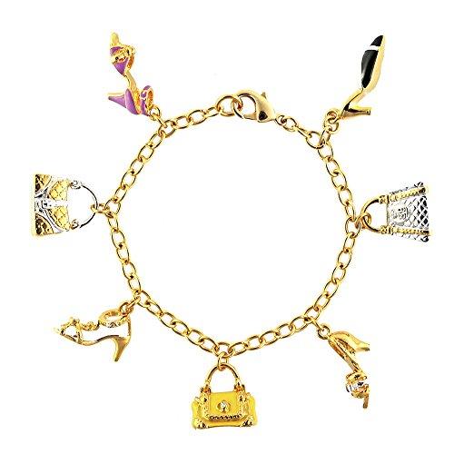Cristalina Halskette 18 Kt vergoldet Fashionistas-Armband Hand emailliert 19 cm mit Schuhen und Handtaschen