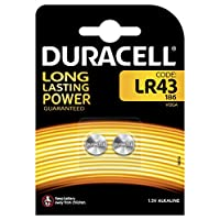 Duracell LR43 186 V12GA 1.5V Batteries (Pack of 2 Batteries)