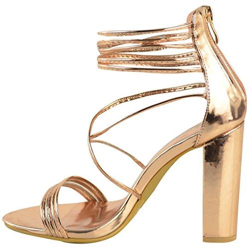 Sandales à talons hauts et larges - bout ouvert/brides - soirée - femme Rose doré métallisé/bout ouvert