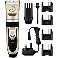 OMORC Electric Pet Grooming Clippers, Rechargeable Cordless Pet Hair Shaver, Grooming Trimmer Kit Low Noise Low Vibration, Cordless Pet Fur Grooming Set 4 Comb Guides Cleaning Brush Cats Dogs
