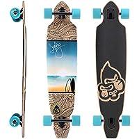 BIKESTAR Premium Canadian Maple Drop Through Flush Cut Pro Longboard Skateboard für Kinder und Erwachsene auch Anfänger ab ca. 12-14 Jahre ★ 75mm Downhill/Freeride/Race Edition ★
