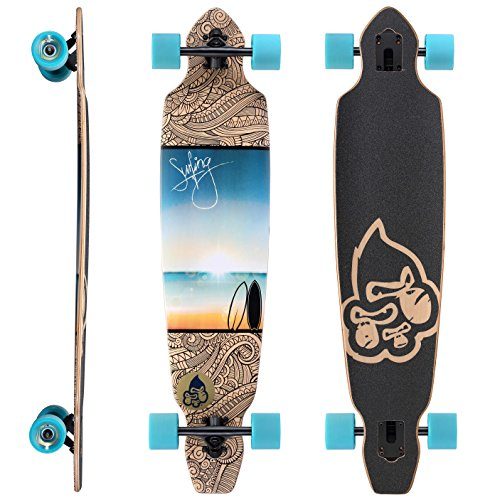 STAR-SKATEBOARDS® Premium Canadian Maple Drop Through Flush Cut Pro Longboard Skateboard für Kinder und Erwachsene auch Anfänger ab ca. 12 - 14 Jahre ★ 75mm Downhill/Freeride/Race Edition ★ Sunset At The Beach Design (Skateboard Herren Deck)