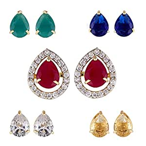 Zeneme Gold-plated Multi-color 5 In 1 Interchangeable Stud Earrings For Women/girls (OVAL)