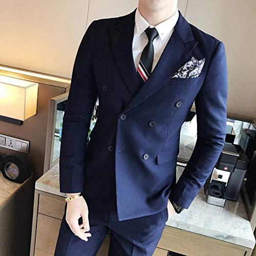 GFRBJK Herren Zweireiher 3-teilige Anzüge Blazer + Weste + Pants Kostüm Homme Solid Color Slim Formelle Freizeitkleidung (Royal Blue) - Kostüm Homme Slim