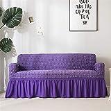 Icegrey Sofabezug Anti Rutsch Sofaüberwurf Sesselhussen Elastisch Sofaüberzug Möbelschutz Rüschen Lila Liebessitz 120-170cm