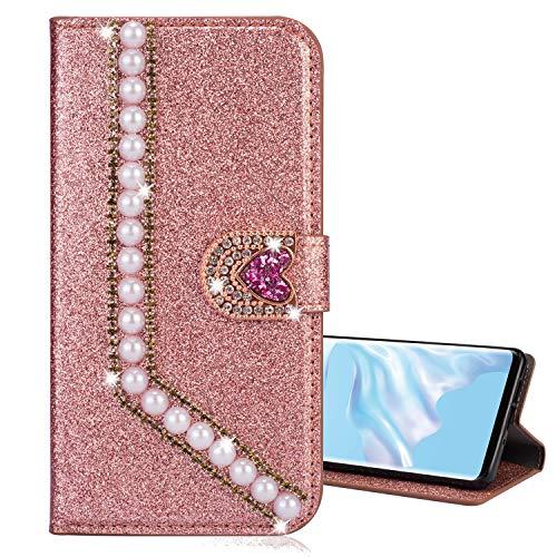 Nadoli Leder Hülle für Huawei P10 Lite,Luxus Bling Glitzer Diamant 3D Handyhülle im Brieftasche-Stil Perle Herz Flip Schutzhülle Etui für Huawei P10 Lite,Rose Gold