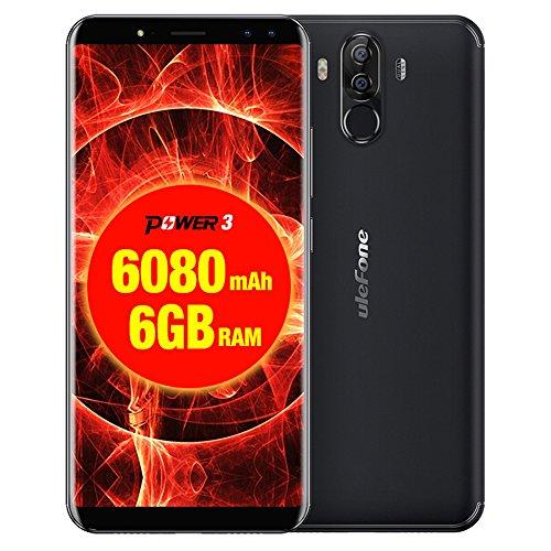 Ulefone Power 3 Smartphone 4G, 6,0 Pollici Schermo Telefoni, 13,0MP+5,0MP Anteriore, 21,0MP+5,0MP Posteriore Fotocamera 6080mAh Cellulari, Android 7,1 Processore 8-core CPU Telefonia Mobile con 6GB RAM + 64GB ROM , Doppio SIM, OTG, WIFI (Black)