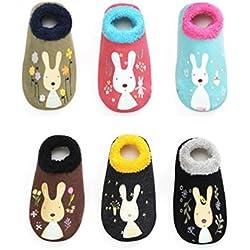 6 Pares de Calcetines Gruesos Antideslizantes para Niñas Niños , Calcetines Cortos Bebé, (12-24 Monate)