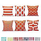 """Comoco Set di 6 Coordinato Geometrico Stampa Digitale Decorativo Caso Cuscino Cuscino 18""""x 18"""" 45 cm x 45 cm-Orange"""