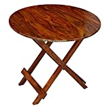 #2: BM WOOD FURNITURE DINING Table Patio Garden And Outdoor Furniture Round Top Folding Table - Brown