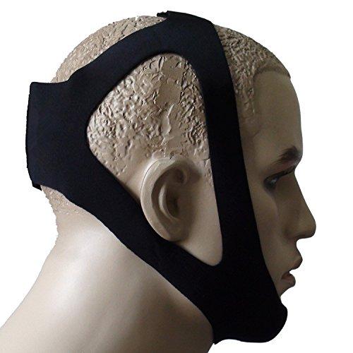Yosoo® Ultra Confortable élastique Anti Snore Stop ronflement Mentonnière Belt Professionnelle Sommeil Ronflement Guard Nouveau Design pour Hommes ou Femmes – Noir