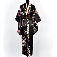 Japanisch Kimono Robe Yukata Schlafanzug Schwarz
