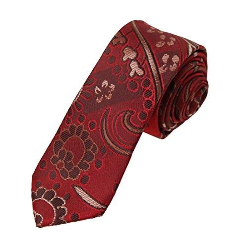 DAE7B11G dunkelrot braun gemusterte Geschenke f¨¹r Design Microfiber d¨¹nne Krawatte billig f¨¹r Hochzeit schlanke Krawatte von Dan Smith