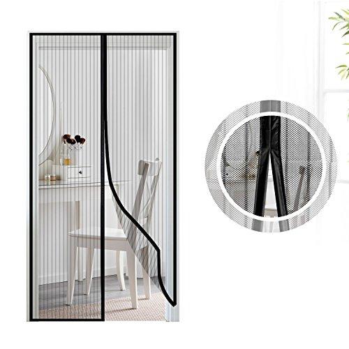 Mosquitera puerta magnetica, Samione Fiberglass magnético puerta de la pantalla de insectos, protección de insectos cortina magnética mosca cortina para sala de estar balcón, (100*220cm,Negro)