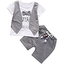 Jimmackey 2Pcs Neonato Bambino Camicia Plaid Bowknot Lettera T-Shirt Cime +  Pantaloncin Abiti Set 0fd1c70ad9f