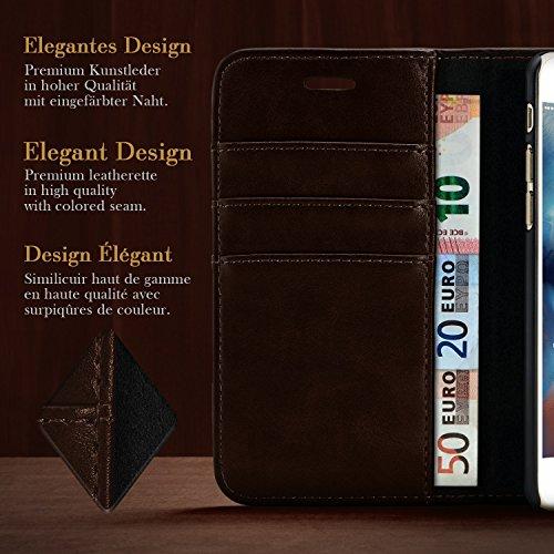 iPhone 4S Hülle Schwarz mit Karten-Fach [OneFlow Book Klapp-Hülle] Etui Schutzhülle Handytasche Kunst-Leder Handyhülle für iPhone 4/4S Case Flip Cover Tasche Dark-Soil