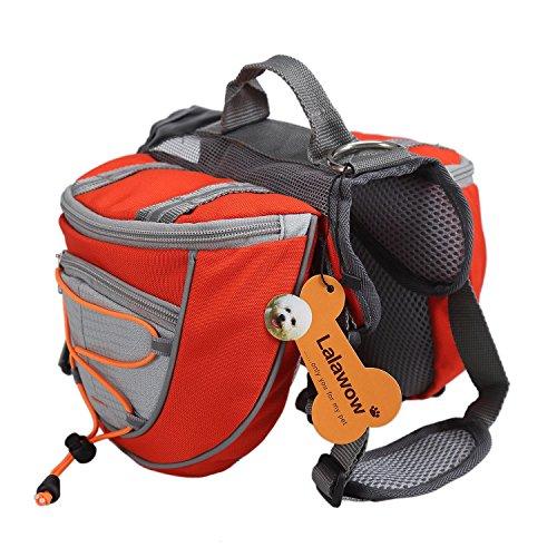 """Lalawow Hunderucksack Camping Wandern Rucksack Breath Einstellbar Sattel Tasche Rucksack für Medium und Large Dog (L - Chest 31.5-34.25\"""", Orange)"""