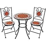 TecTake Set arredo giardino mosaico tavolo e sedie in ferro con terracotta ceramica